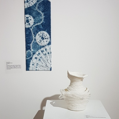 Vessel by Di Flint, Shibori by Alison Charlton