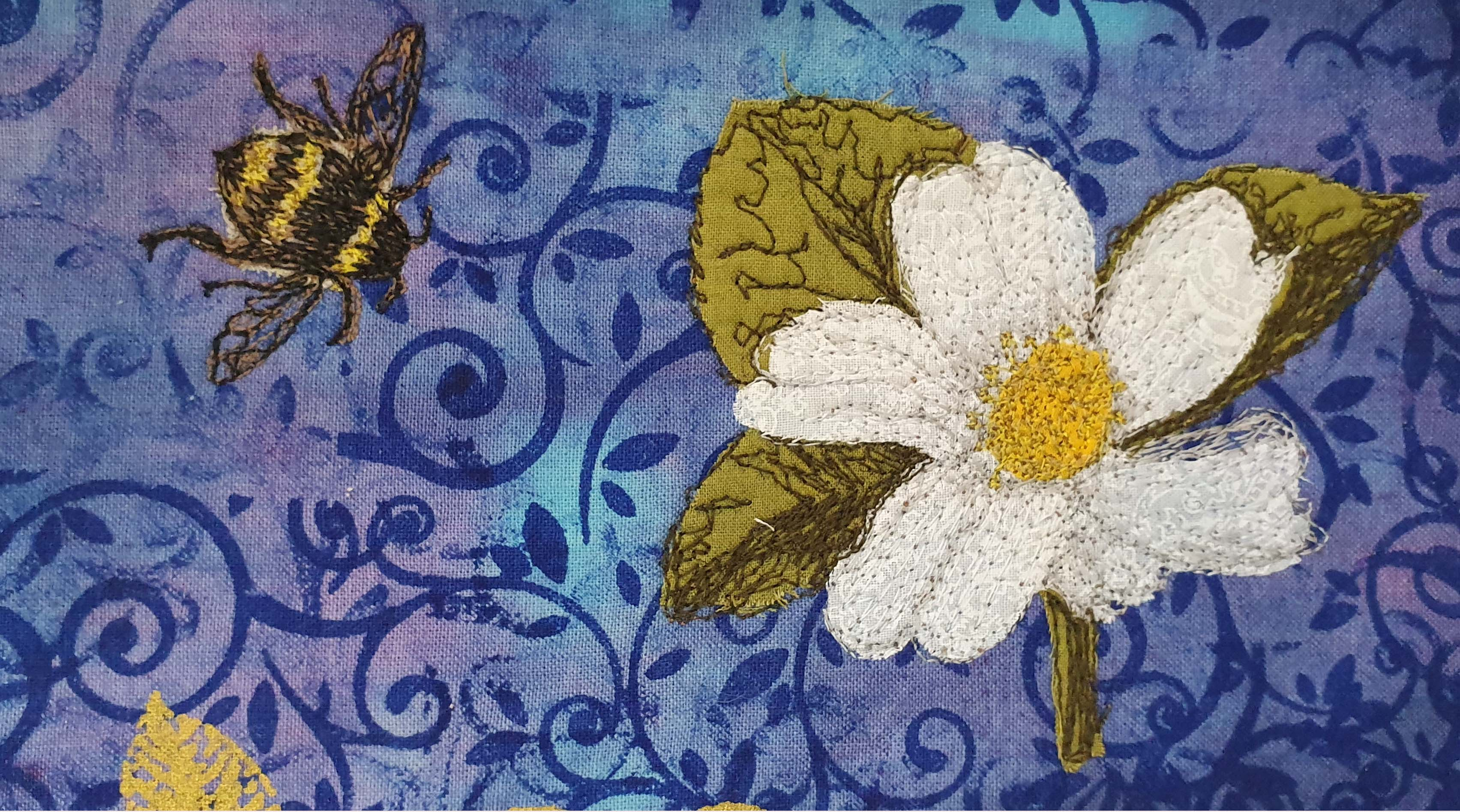 Flower & Bee Project- Printed Sticky Fabri-Solvy Stitchable images